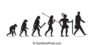 développement, évolution, théorie, moderne, isolé, silhouette., arrière-plan., hommes affaires, humain, blanc, homme, singe