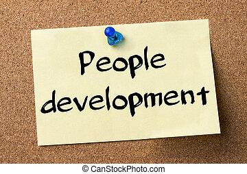 développement, adhésif, gens, -, étiquette, goupillé, planche, bulletin
