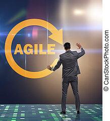 développement, agile, concept, logiciel
