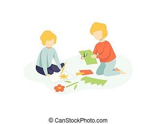 développement, application, gosses, séance, dessin, plancher, deux, illustration, education, garçons, découpage, vecteur, détails, créativité