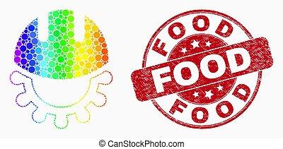 développement, arc-en-ciel grunge, coloré, casque, timbre nourriture, vecteur, cachet, pixel, icône