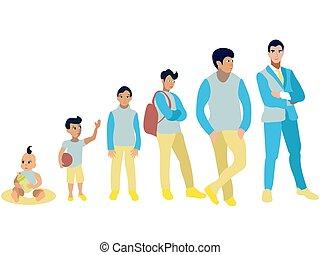 développement, art plat, agrafe, ensemble, mens, génération, vecteur, dessin animé, étapes, étapes, conception
