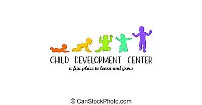 développement, bornes, kindergarten., étapes, année, enfant, bébé, logo, centerand, soin, premier