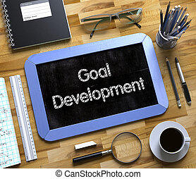 développement, but, texte, -, petit, chalkboard., 3d.