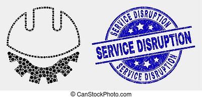 développement, casque, service, gratté, interruption, vecteur, cachet, point, icône