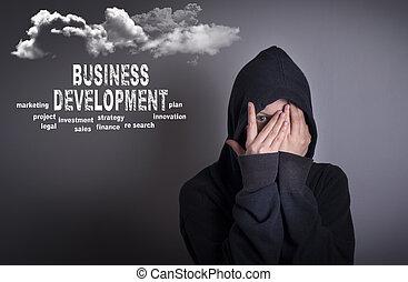 développement, concept., affaires femme, couverture
