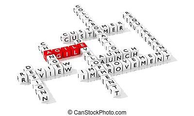 développement, concept, business, agile, puzzle, mots croisés