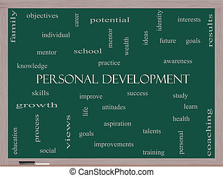 développement, concept, mot, personnel, tableau noir, nuage