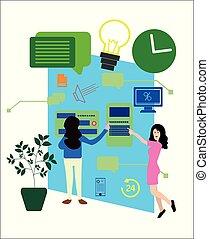 développement, concepts web, transfer., gens fonctionnement, mobile, création, plat, page, site web, vecteur, conception, applications, sites web, information, style., illustration