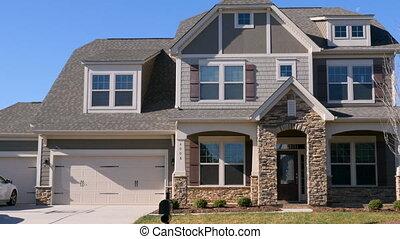développement, coup, maison, suburbain, establishing, garage, 3, chariot, voiture