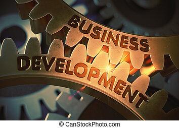 développement, doré, illustration., business, concept., gears., 3d