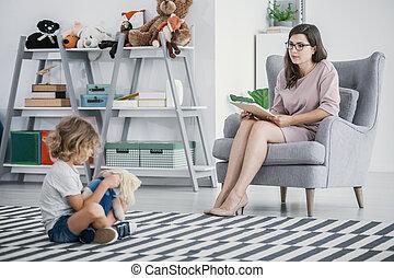 développement, enfant, séance, problems., ouvrier, jeune, floor., séance, social, diagnostic, professionnel, observer, gosse