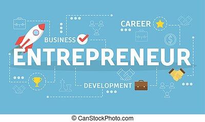 développement, entrepreneur, concept., idée, business