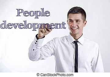 développement, gens, -, jeune, surface, écriture, homme affaires, sourire, transparent
