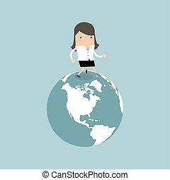 développement, globe., business, femme affaires, concept., courant, innovation