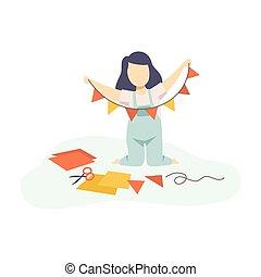 développement, gosses, guirlande, coloré, pennants, illustration, education, vecteur, créativité, confection, girl