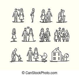 développement, gosses, relation, famille, père, grand-père, grand-mère., parents, mère, children., stages.