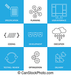 développement, graphique, processus, -, vecteur, concept, life-cycle, logiciel