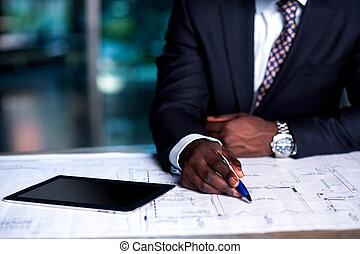 développement, homme, business, fonctionnement, plan