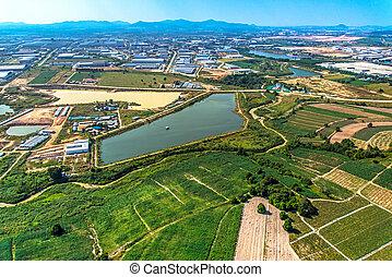 développement, industriel, aérien, propriété, réservoir, eau, terre, agriculture, vue