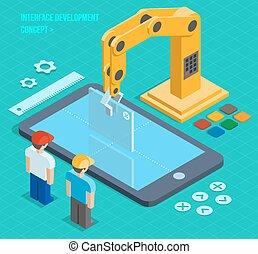 développement, isométrique, concept, vecteur, interface utilisateur, 3d