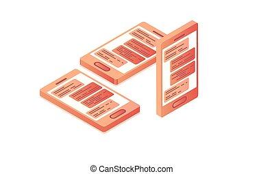 développement, isométrique, plat, mobile, app, style., 3d