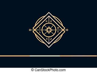 développement, logo, alchimie, linéaire, géométrique