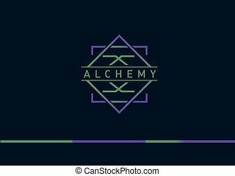Développement,  logo, alchimie, géométrique, créatif