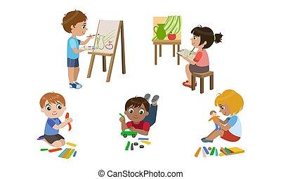 développement, mignon, gosses, childrens, garçons, ensemble, filles, modelage, créatif, education, plasticine, vecteur, illustration, peinture
