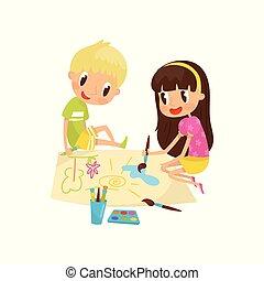 développement, mignon, peu, concept, feuille, séance, papier, peintures, garçon, illustration, grand, vecteur, plancher, enfant, girl, education, dessin