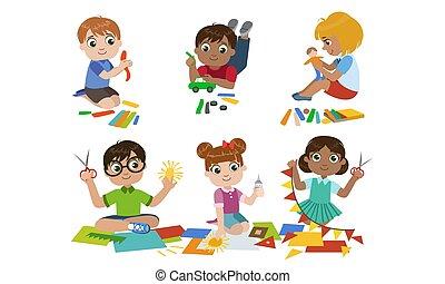 développement, mignon, scssors, gosses, childrens, garçons, ensemble, filles, modelage, créatif, education, plasticine, découpage, vecteur, illustration