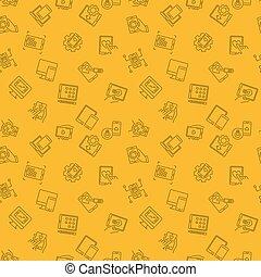 développement, mobile, modèle, app, seamless, jaune, vecteur, ligne
