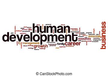 développement, mot, humain, nuage