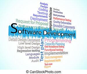 développement, mot, nuage, logiciel