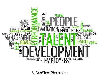 développement, mot, talent, nuage