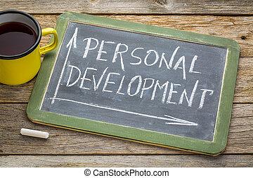développement, personnel, blanc, craie, tableau noir