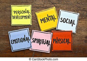 développement, personnel, notes, concept, collant