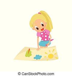 développement, peu, concept, girl, illustration, agréable, papier, application, vecteur, colle, fond, enfant, confection, blanc, education, blond