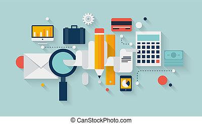 développement, planification, financier, illustration