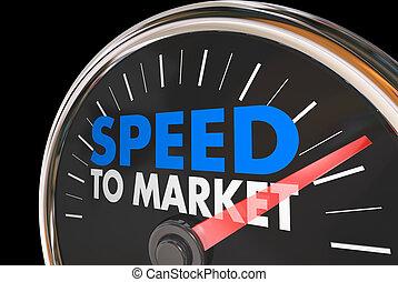 développement, produit, compteur vitesse, illustration, jeûne, vitesse, marché, 3d