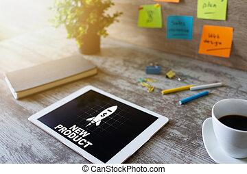 développement, produit, concept, business, screen., appareil, nouveau