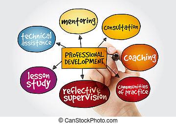 développement, professionnel, esprit, carte