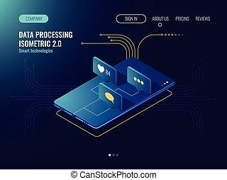 développement, réseau, smartphone, entrant, aimer, icônes, mobile, média, ingénierie, néon, isométrique, masage, sombre, application, vecteur, social, message, 3d