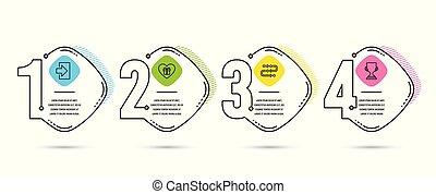 développement, romantique, cadeau, tasse, amour, signe., process., icons., signe, dans, méthodologie, vecteur, récompense, login, surprise