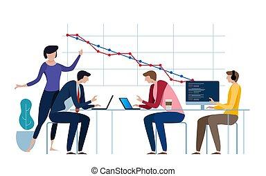 développement, scrum, agile, process., quotidiennement, diagramme, methodology., meeting., plan, burn-down