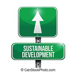 développement soutenable, route, illustration, signe