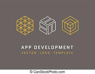 développement, style, ensemble, technologie, logos, architecture, jeu, vecteur, studio, ligne