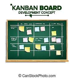 développement, tâches, entiers, démarrage, process., scrum, illustration, tâche, réaliste, list., planche, vector., pendre, board.