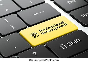 développement, tête, informatique, engrenages, fond, clavier, professionnel, education, concept:
