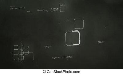développement, tableau noir, logiciel